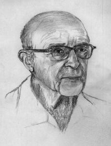 Black and white line drawing of Carl Rogers. He is shown as an older man wearing glasses and an open-collared shirt